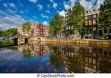 Cityscape of Amsterdam - The traditional Dutch houses...