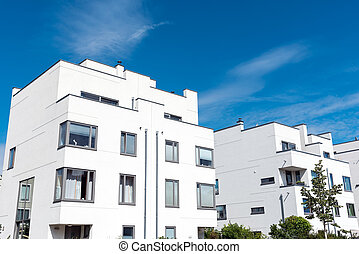 Modern white townhouses in Germany - Modern white townhouses...
