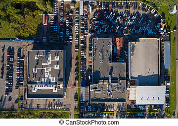 Aerial wiew of car dealer center - Aerial view of the...