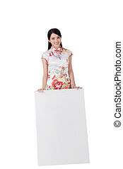 Chinese woman dress traditional cheongsam - Attractive...