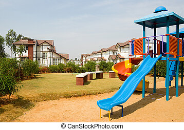 Playground amidst Tudor homes - A playground in a midst of...