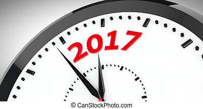 Clock dial 2017 #2 - Black clock with 2017 represents coming...