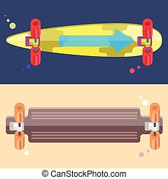 Vector Illustration of Longboards. Colorful Illustration of...