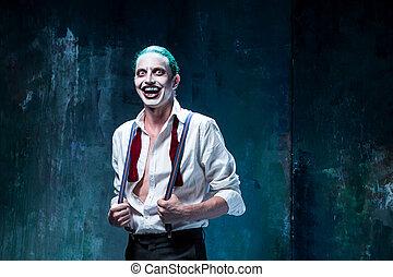 sangrento, dia das bruxas, theme:, loucos, joker, rosto