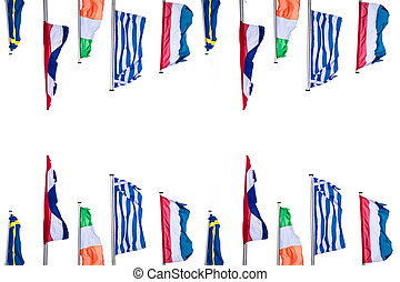 Several Europe countries flags arranged in front of a white...