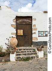 Old brown door in Betancuria village on Fuerteventura,...
