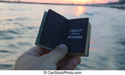 Dream Discover Travel, the inscription on the book....