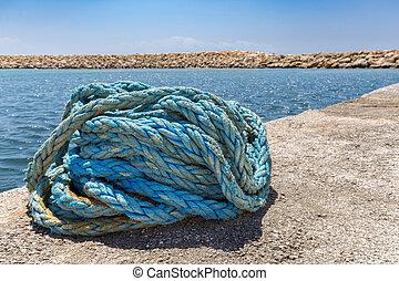 enroscado, azul, amarra, soga, en, agua, en, griego, Cueva