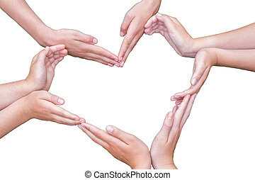 Many arms of girls construct heart isolated on white - Many...