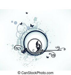 Grunge butterfly and floral elements Vector - Beautiful...
