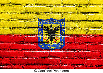 Flag of Bogota, Colombia, painted on brick wall