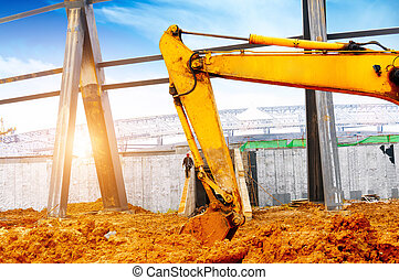 Construction site excavator - Close-up of a construction...