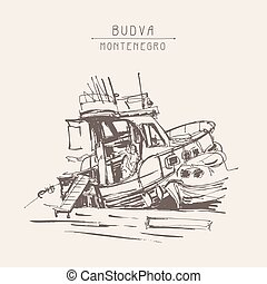 ink sketch drawing of boat in marine, vintage touristic...