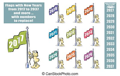 Flags with New Years from 2017 to 2037 and more with numbers...