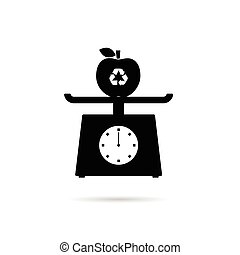 scales for food with recycle apple illustration