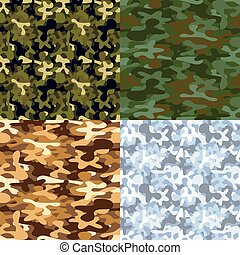 Set of military camouflage seamless patterns - Set of four...