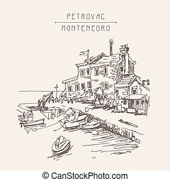 original sketch drawing of historical fort Petrovac...