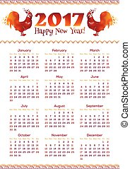 New Year calendar greed with red fiery roosters - 2017 New...
