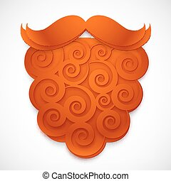 Red curly paper vector fake beard with mustaches