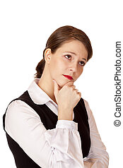 Contemplative business woman with crossed arms thinks about problem solving.