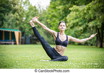 Healthy young woman working out