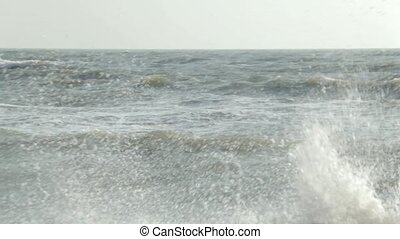 At sea, the storm and the wind - Stormy sea against the...