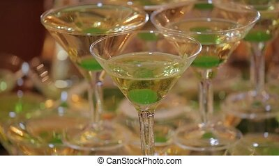 Pyramid of glasses of champagne - Pyramid from glasses with...