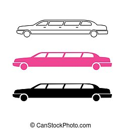 Limousine service pink graphic icon sign in round.