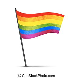 LGBT flag on a pole with shadow isolated on white
