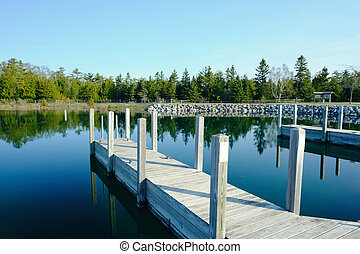 Jetty on Lake Huron at Presque Isle, MI, USA