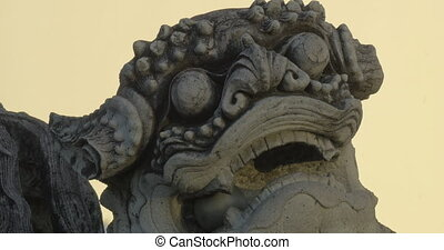 Stone Thai lion statue - Head of stone Thai lion statue and...