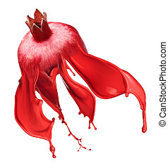 red pomegranate isolated and Ink Splashes - red pomegranate...