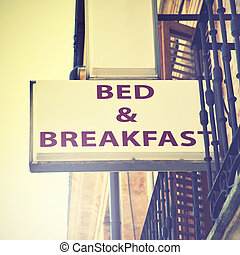 Bed and breakfast sign - Bed and breakfast hotel sign Retro...