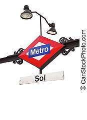 Metro sign - Sol - Metro sign Sol station in Madrid isolated...