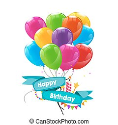 Happy Birthday Card Template with Balloons, Ribbon and Candle Vector Illustration