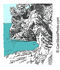 sketch drawing of nature rock at adriatic sea in Petrovac...