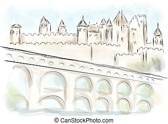 languedoc abstract illustration of fort on multicolor...