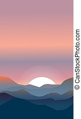 Abstract landscape of a sunset. Pink and peachy colors. The...