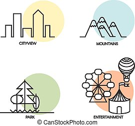 Landscape icons set - Set of 4 flat landscape and activity...