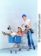 go shopping - Happy young couple went shopping for the...