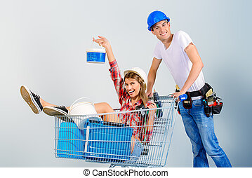 credit for renovation - Happy young couple went shopping for...