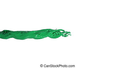 powerful green liquid flow in slow motion. Colored paint