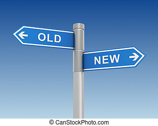old and new road sign concept  3d illustration