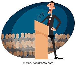 Speaker at the tribune - Vector illustration of a speaker at...