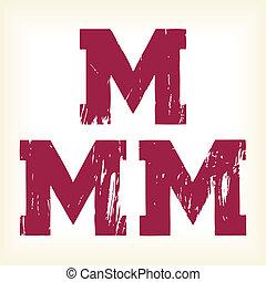 Grunge vector M letter - alphabet - Grunge vector M letter -...