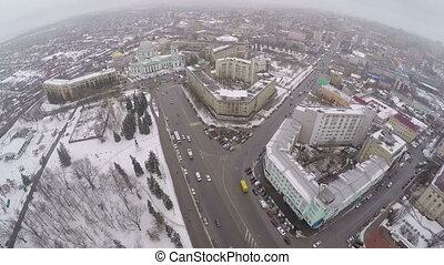 Panorama from top of winter city of Kursk, Russia