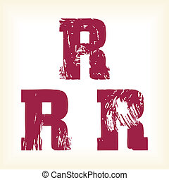 Grunge vector R letter - typography