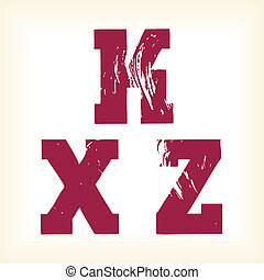 Grunge vector K, X and Z letters - Grunge vector K, X Z...
