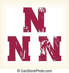 Grunge vector N letter - type - Grunge vector N letter -...