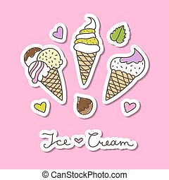 ice cream cones - vector hand drawn ice cream, set of paper...